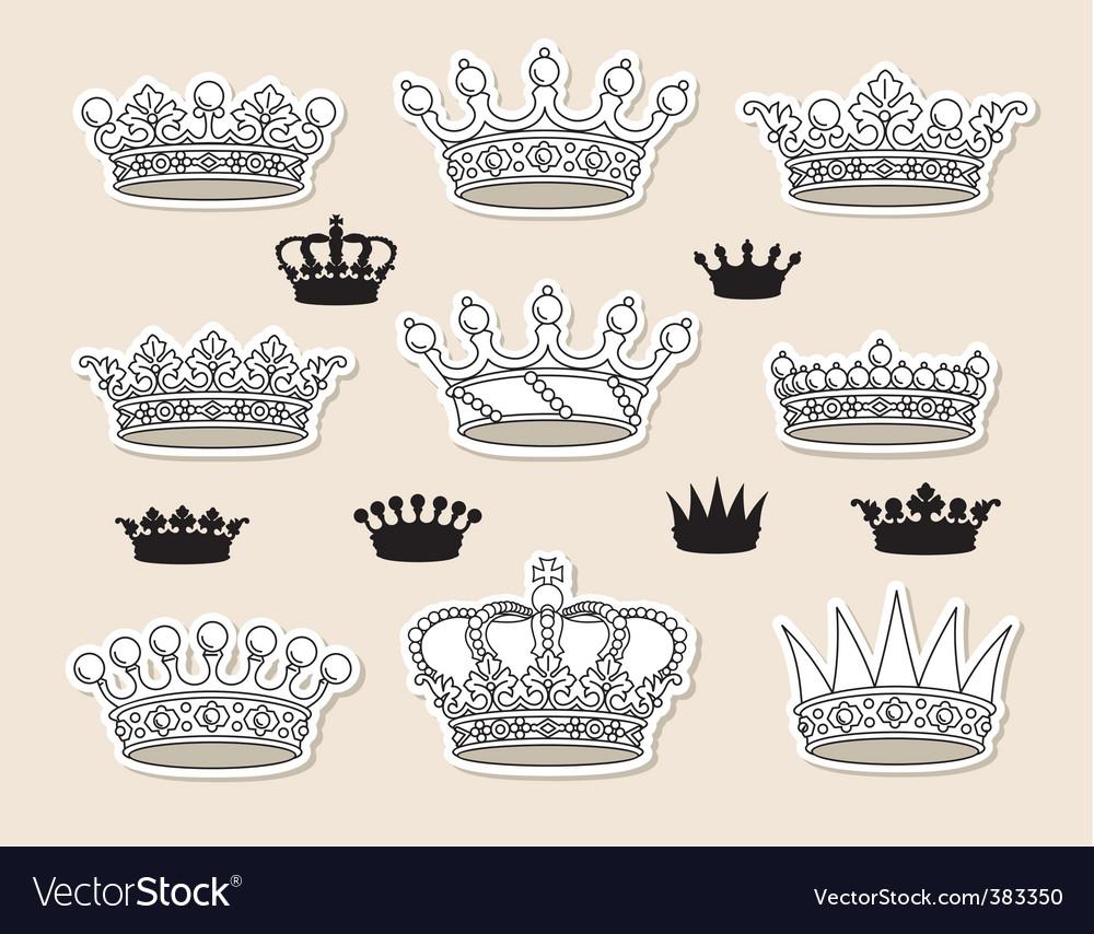 Set vector crowns vector image