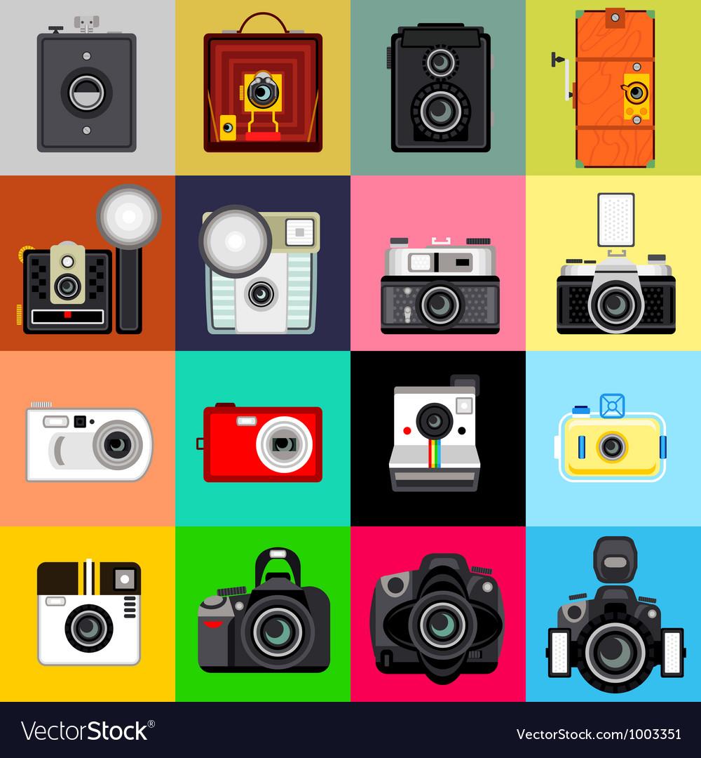 History of Camera vector image