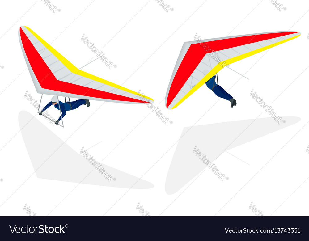 Isometric hang glider soaring the thermal updrafts vector image