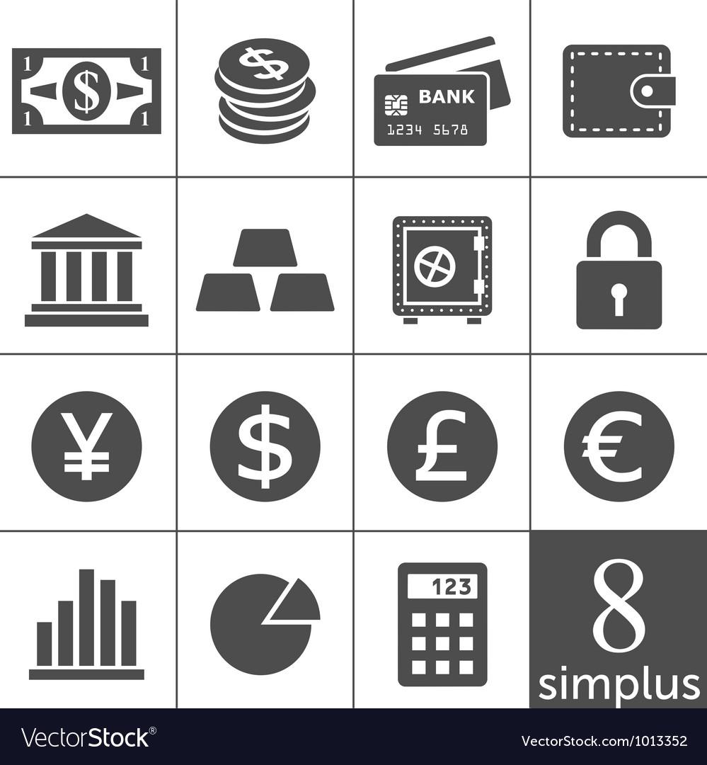 Financal icons set - Simplus series vector image