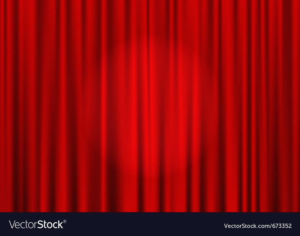 Closed red theater curtain vector image
