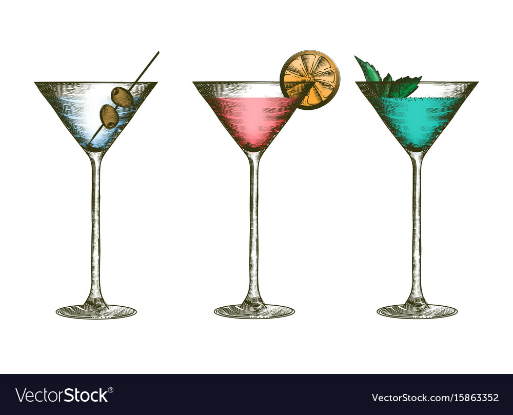 Martini glasses with olives citruses and leaves vector image