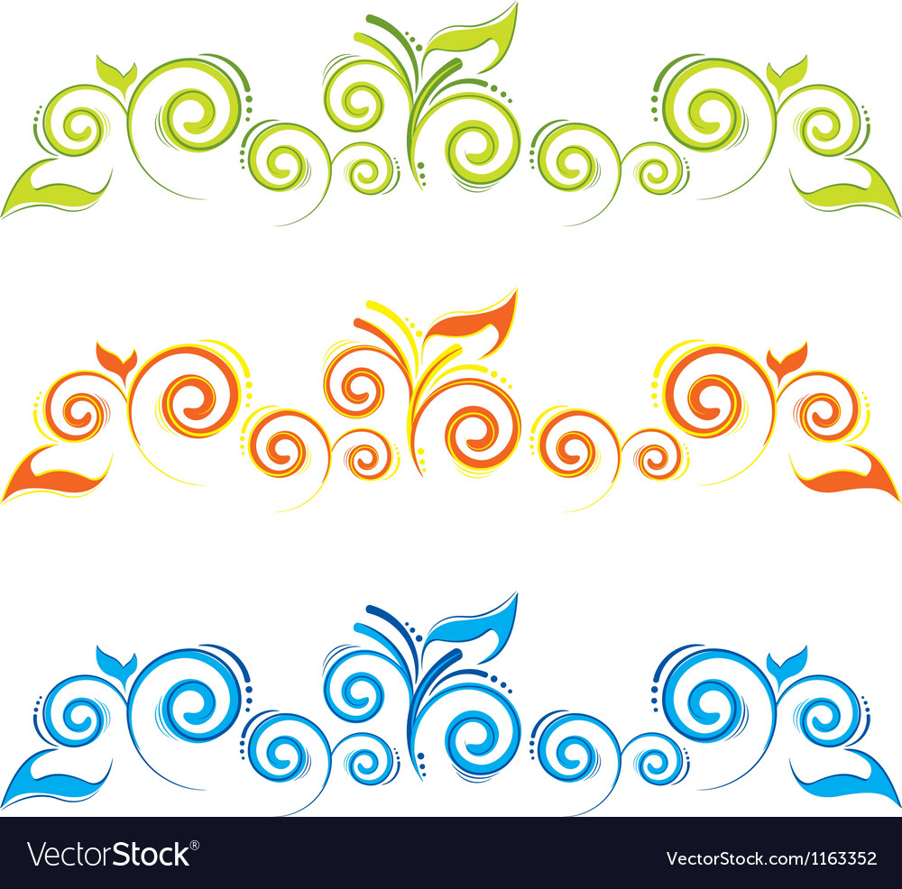 Swirl floral border vector image