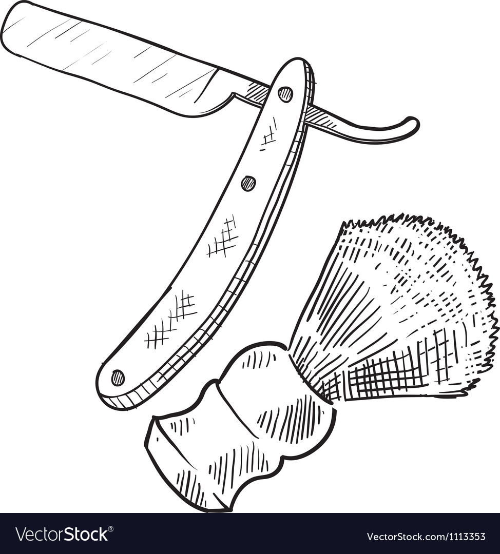 Doodle shave straight razor brush vector image