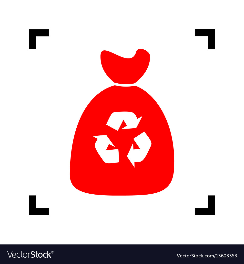 Trash bag icon red icon inside black vector image
