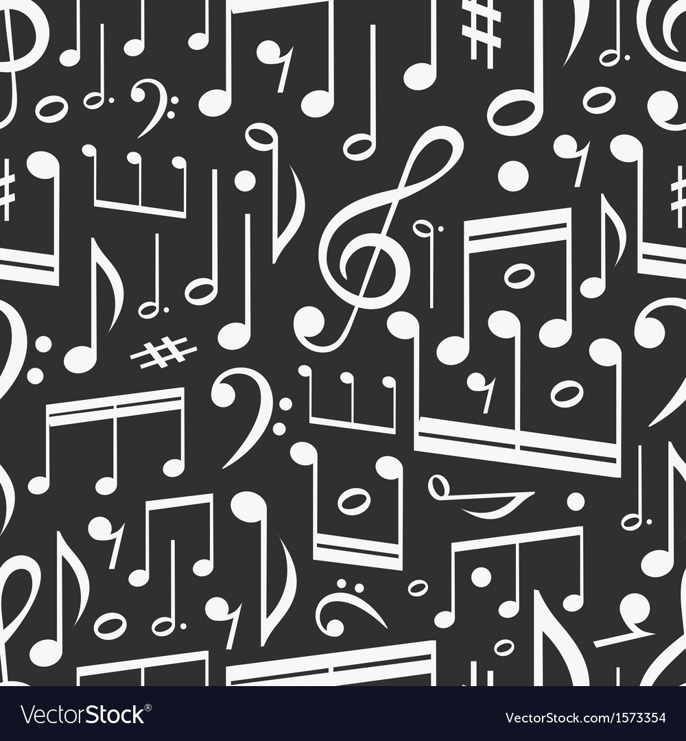 Seamless background of music notes vector image
