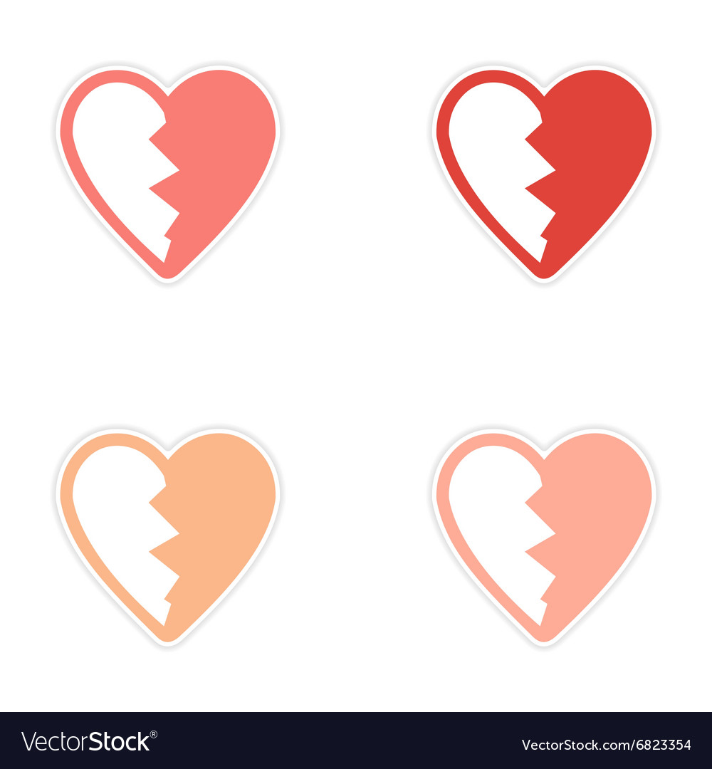 Assembly sticker bright heart broken into pieces