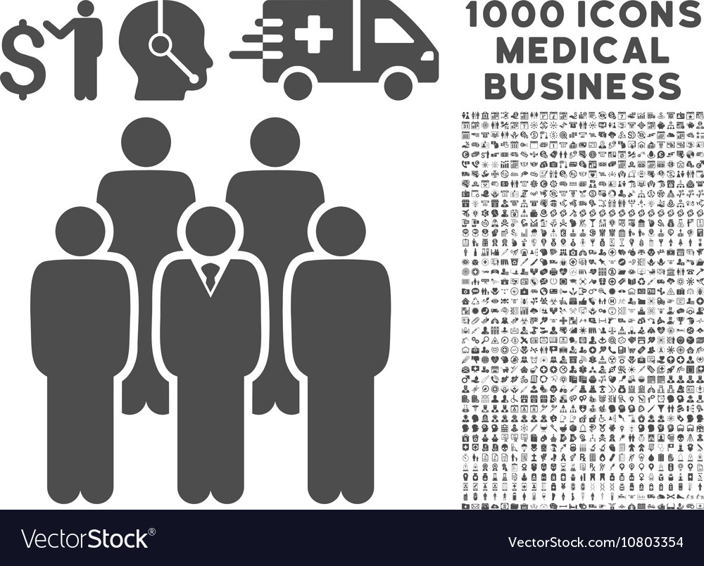 Staff Icon with 1000 Medical Business Pictograms vector image