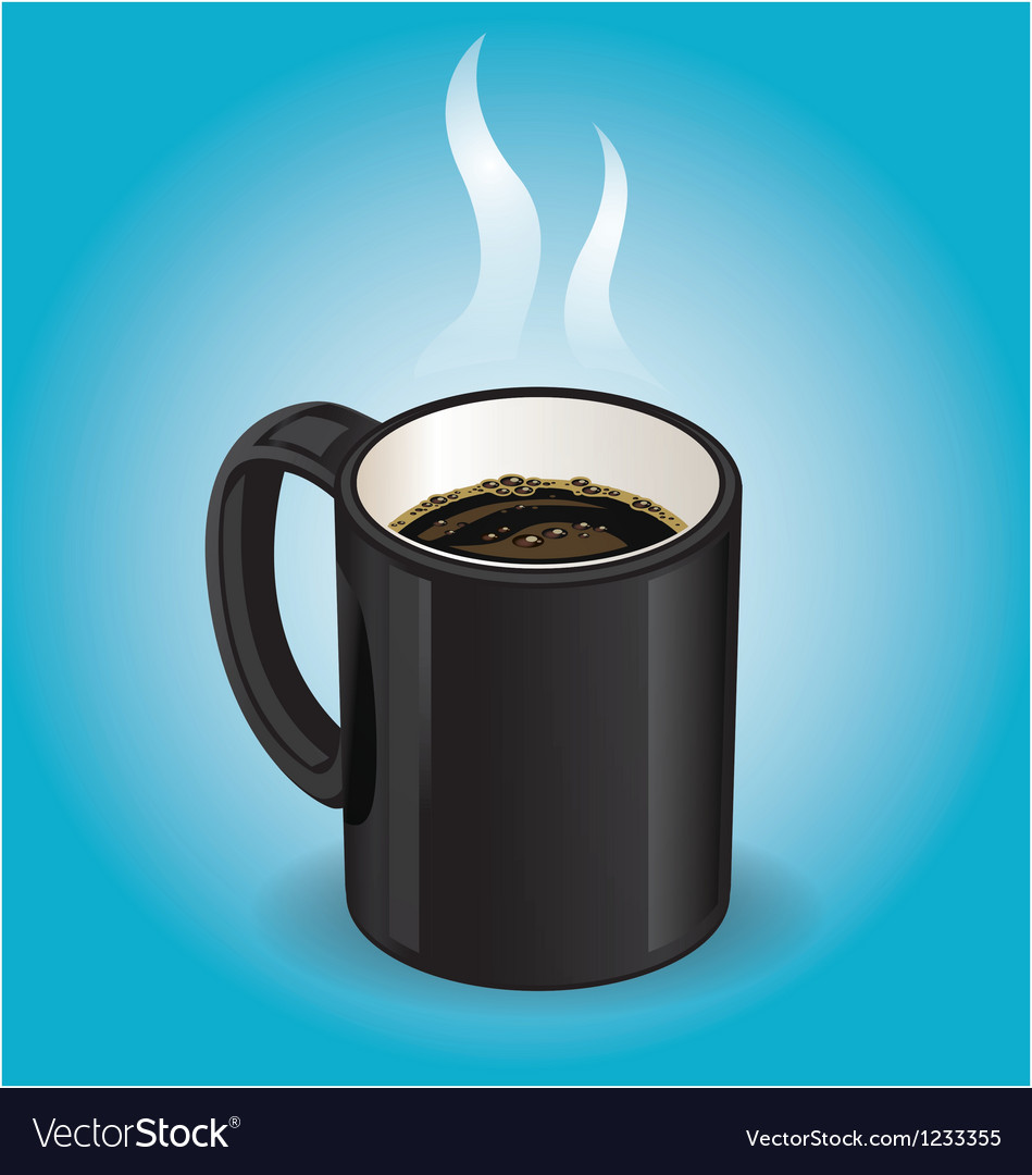 Black coffee cup on Blue background vector image