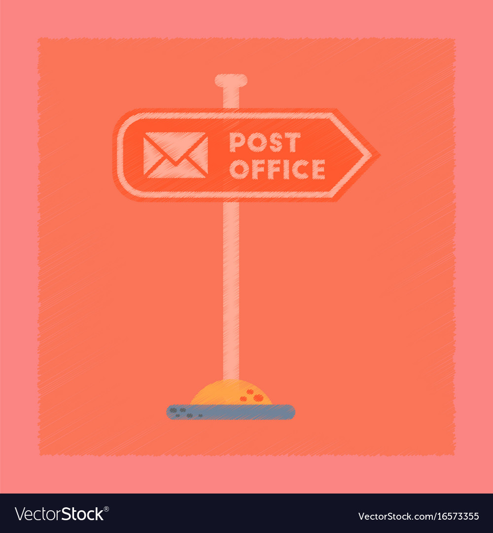 Flat shading style icon sign post office vector image