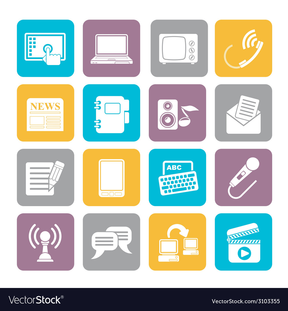 Silhouette Communication and connection icons vector image