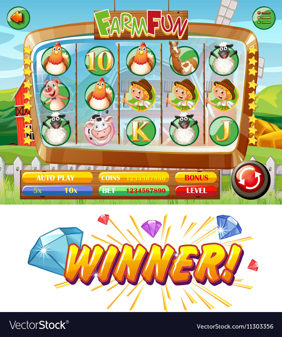 Slot game template with farm animal characters vector image