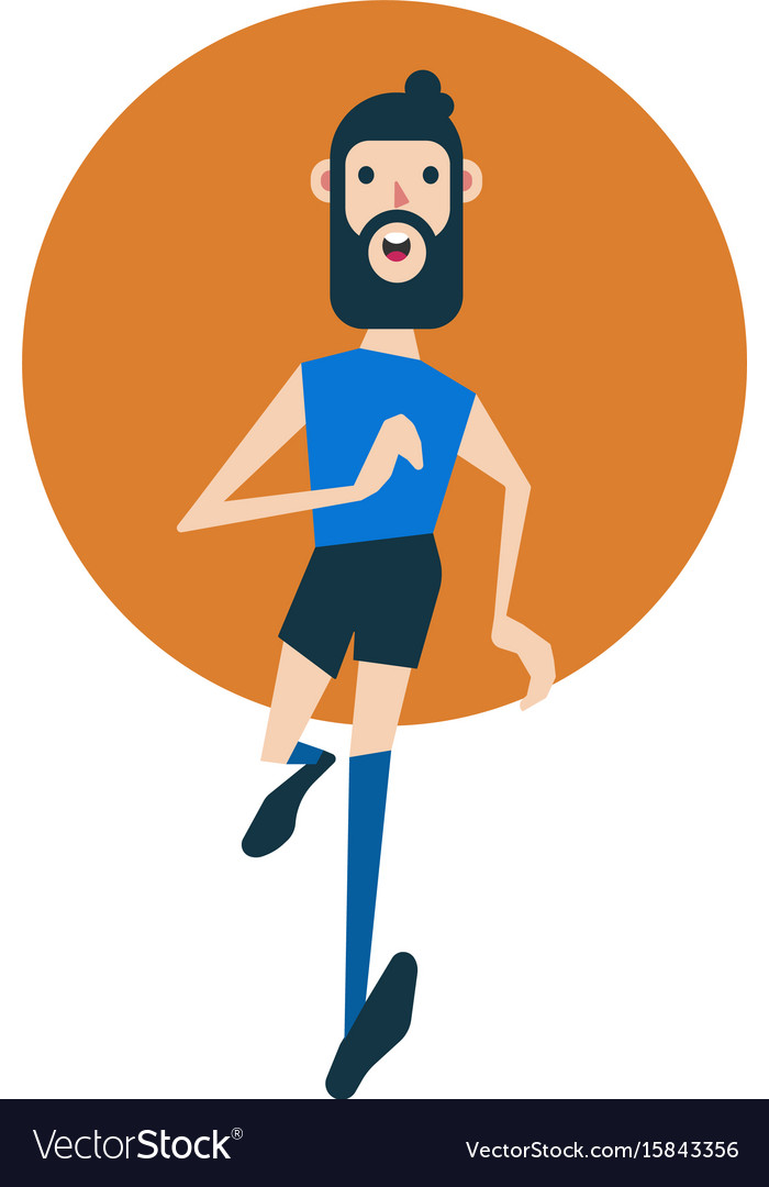 Young caucasian hipster man with beard running vector image