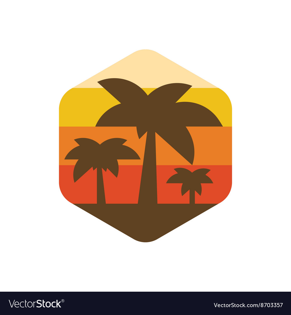 Palm trees on the island of paradise earth at vector image