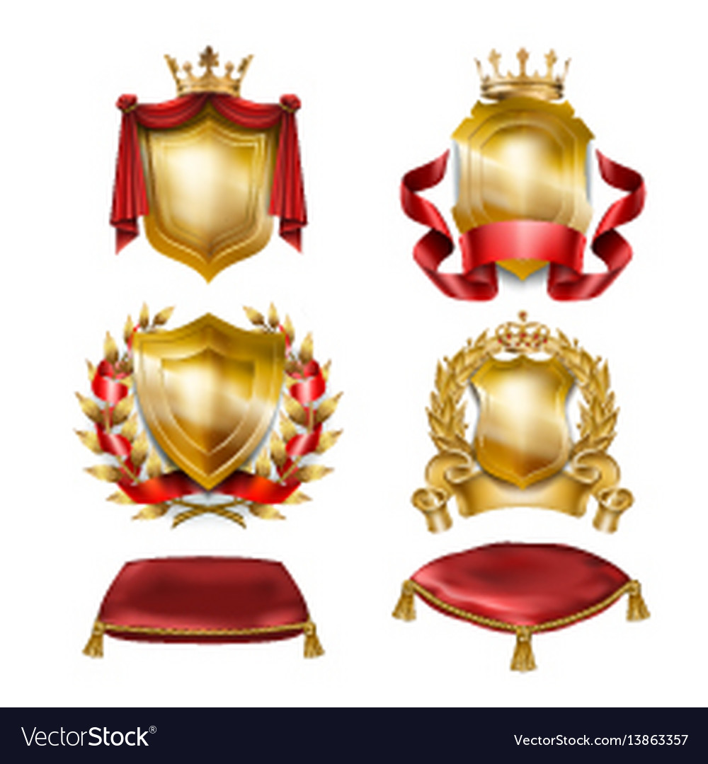 Set of icons of heraldic shields with royal vector image