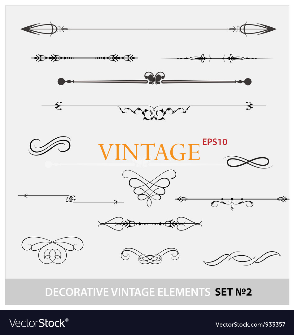 Vintage elements sign and borders set vector image