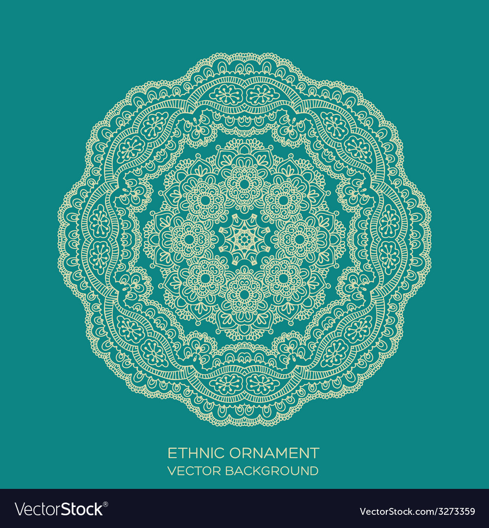 Circle lace ornament mandala vector image