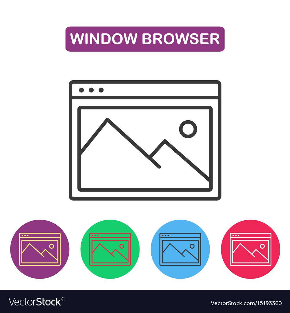 Picture icon browser window image vector image