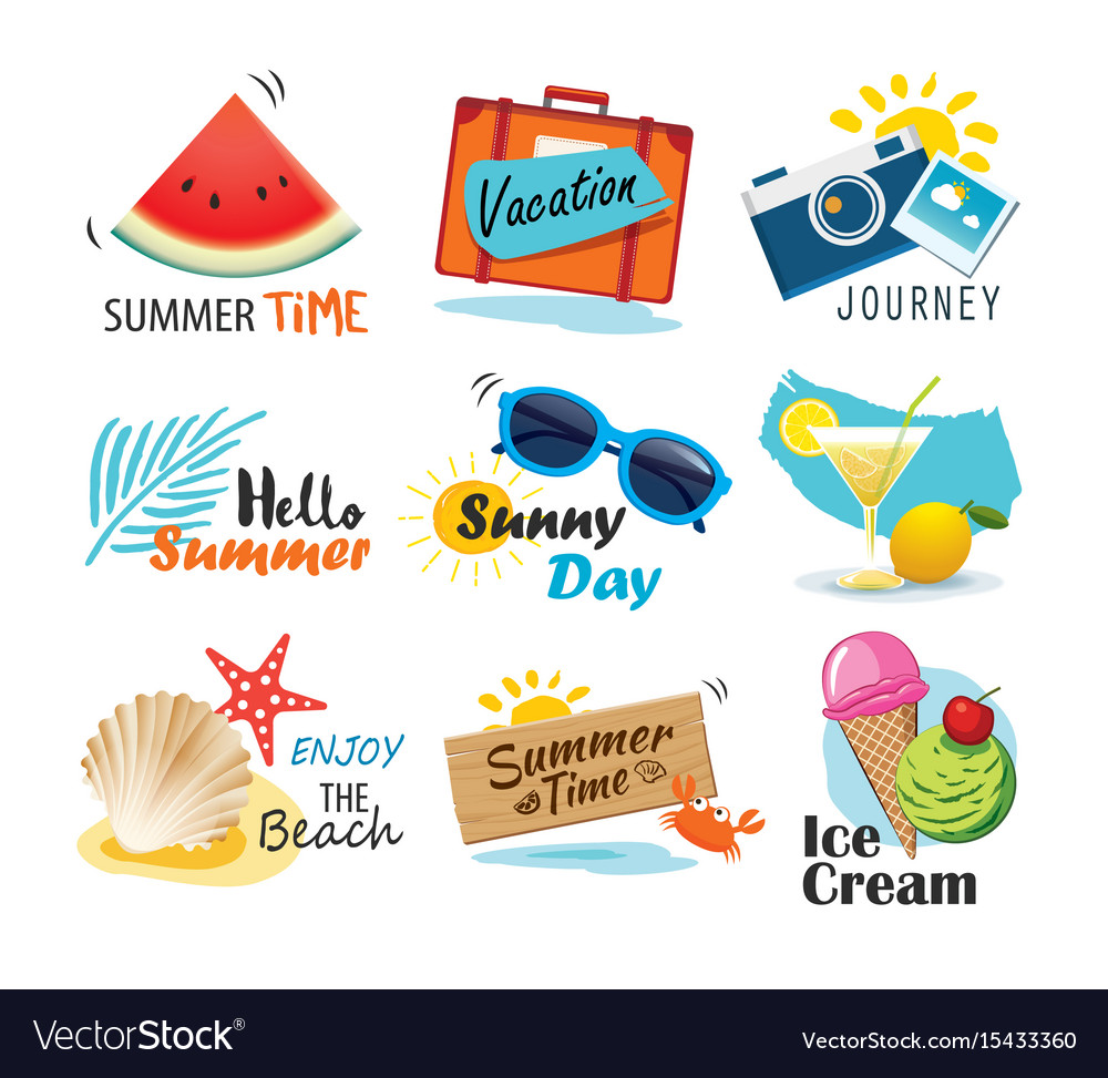 Summer label banner tag and elements background vector image