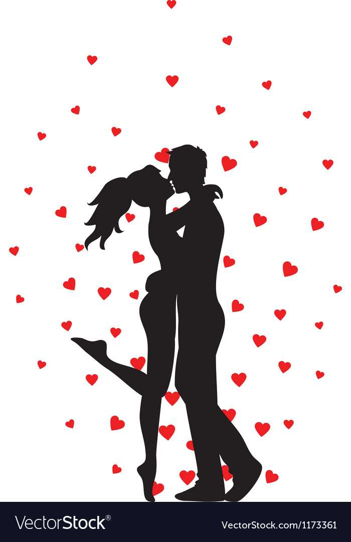 Kissing couple and hearts vector image