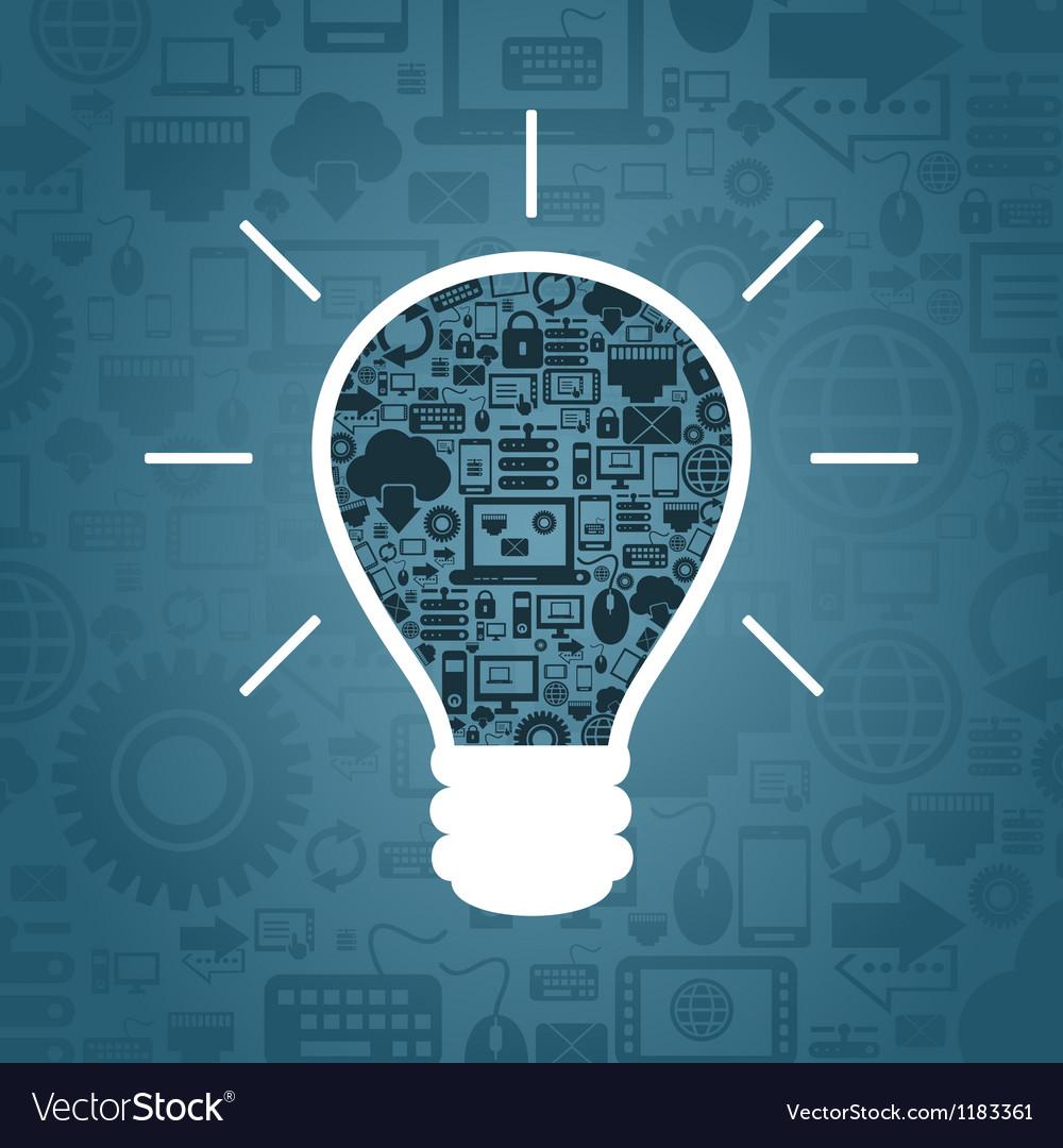 Computer a bulb vector image