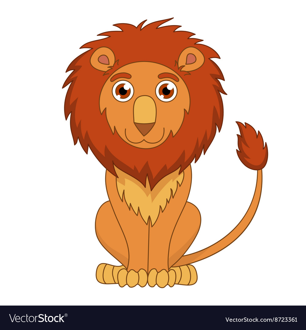 Cute cartoon lion with fluffy mane and kind muzzle vector image
