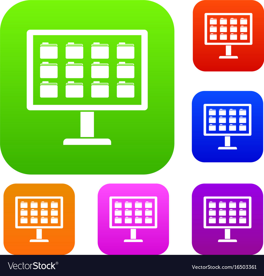 Desktop of computer with folders set collection vector image