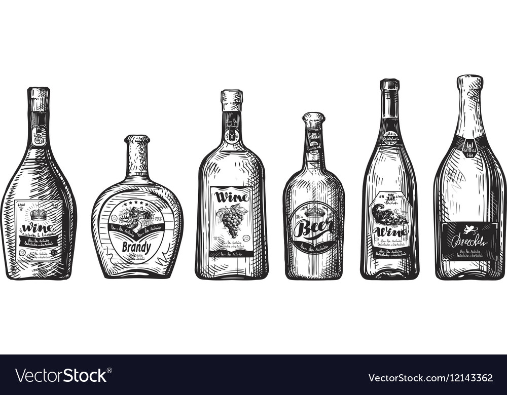 Hand-drawn set bottles for bar Alcoholic vector image