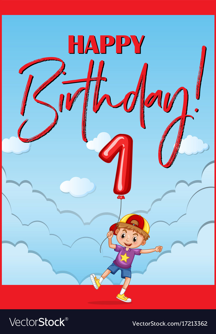 Happy birthday card for one year old boy vector image bookmarktalkfo Gallery