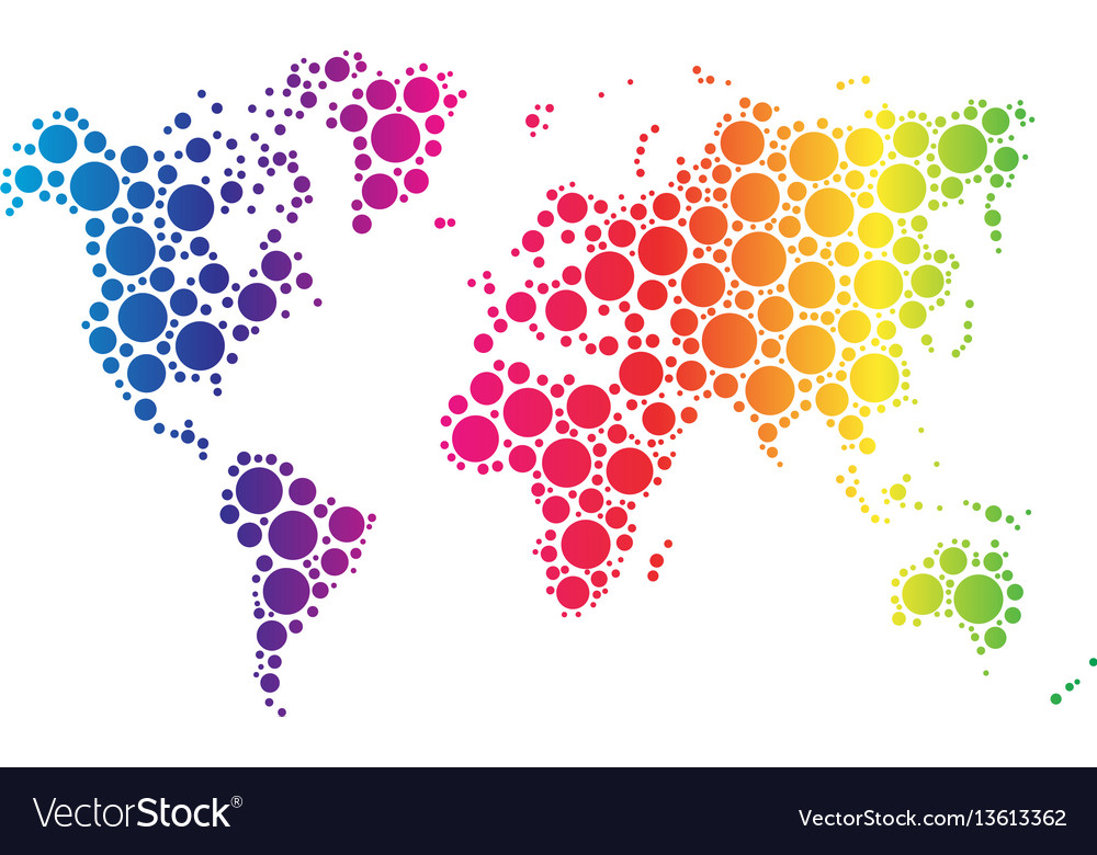 World map wallpaper mosaic of dots in rainbow vector image gumiabroncs Gallery