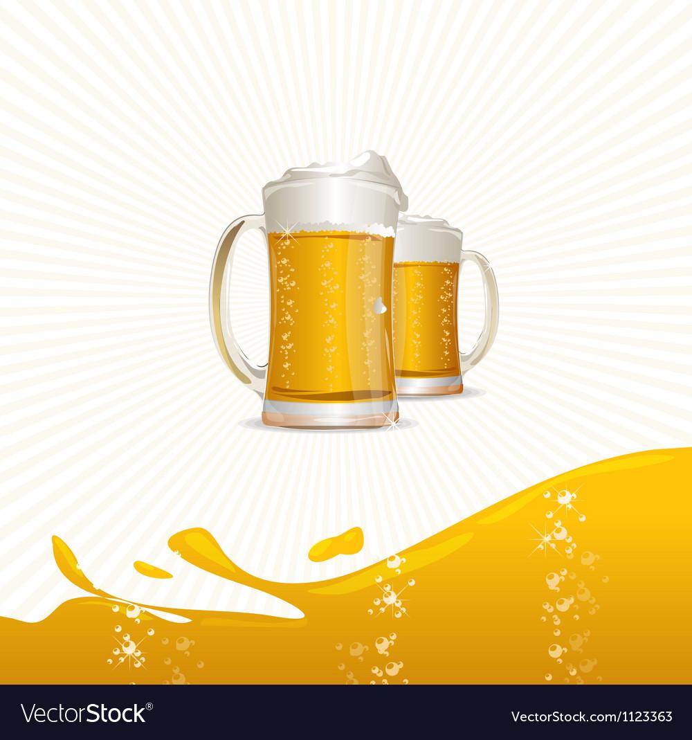 Beer mugs on white vector image