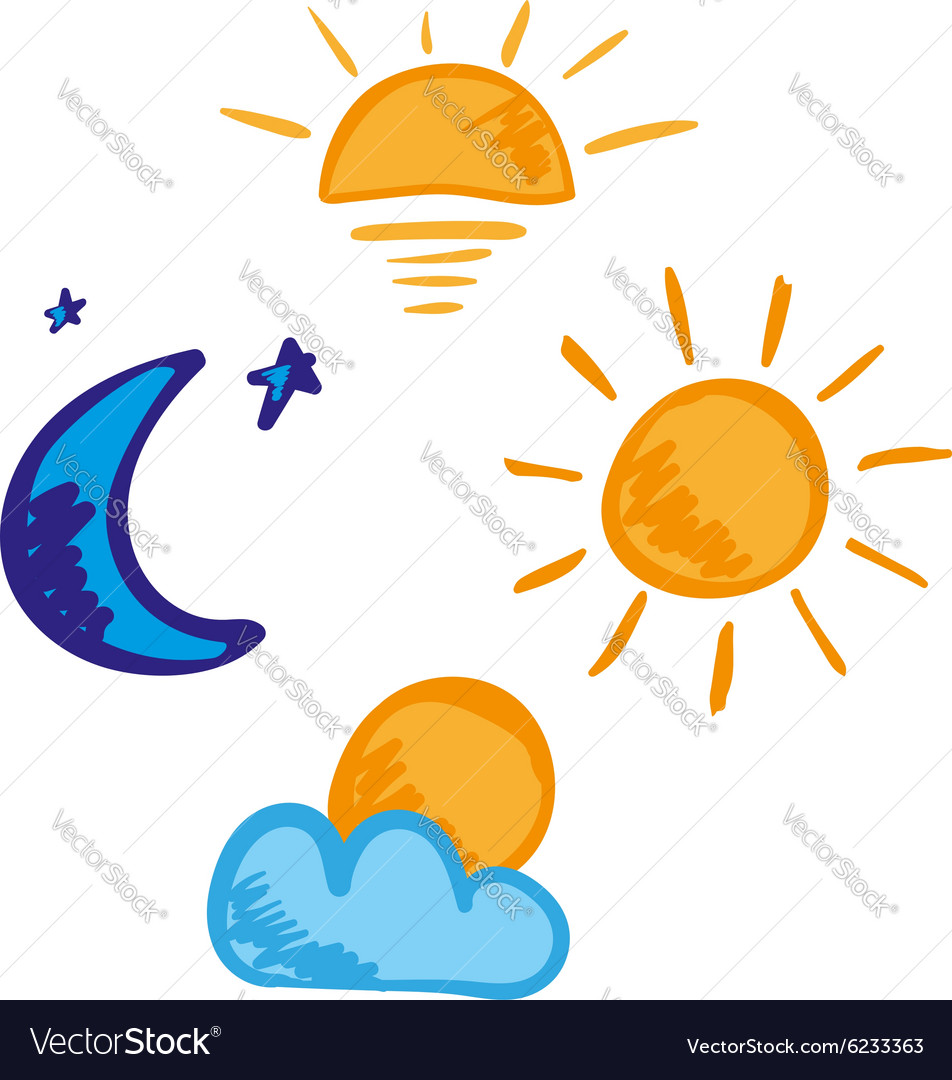 Morning day evening night icon set Royalty Free Vector Image
