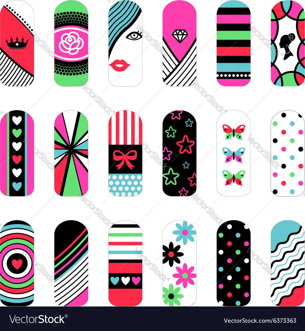 Nail art ornaments vector image