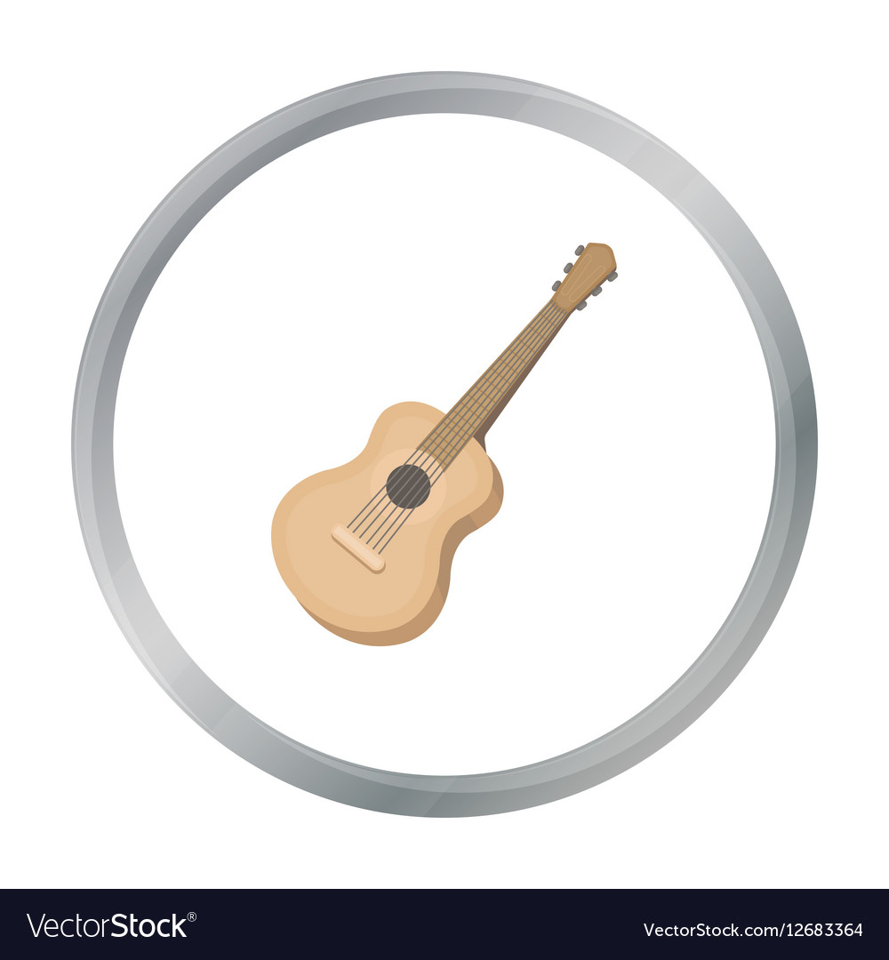 Acoustic guitar icon in cartoon style isolated on vector image