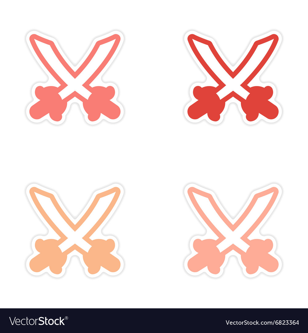 Assembly sticker Bright crossed swords on a white vector image