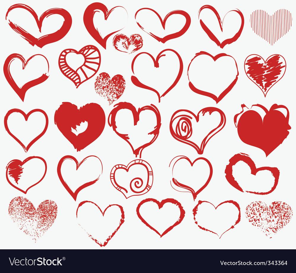 Grunge hearts vector image