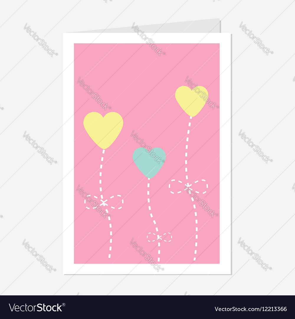 Heart flowers dash line Love greeting card Flat vector image