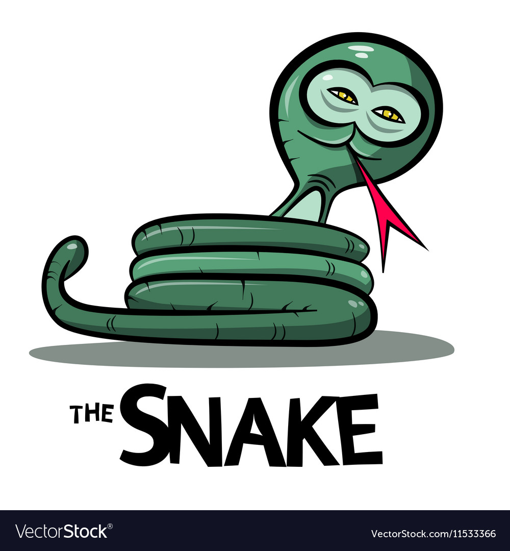 Snake Cartoon - Green Boa or Anaconda Snake with vector image