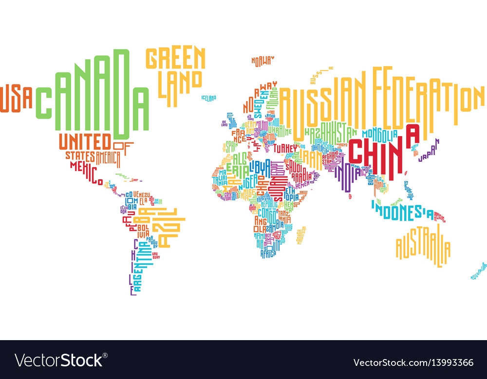 World map made of typographic country names Vector Image