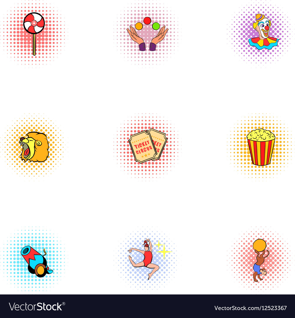 Circus chapiteau icons set pop-art style vector image