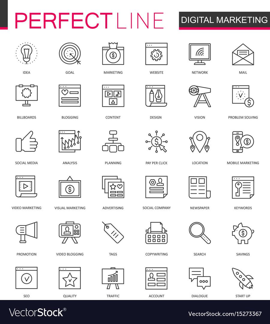 Digital marketing thin line web icons set online vector image