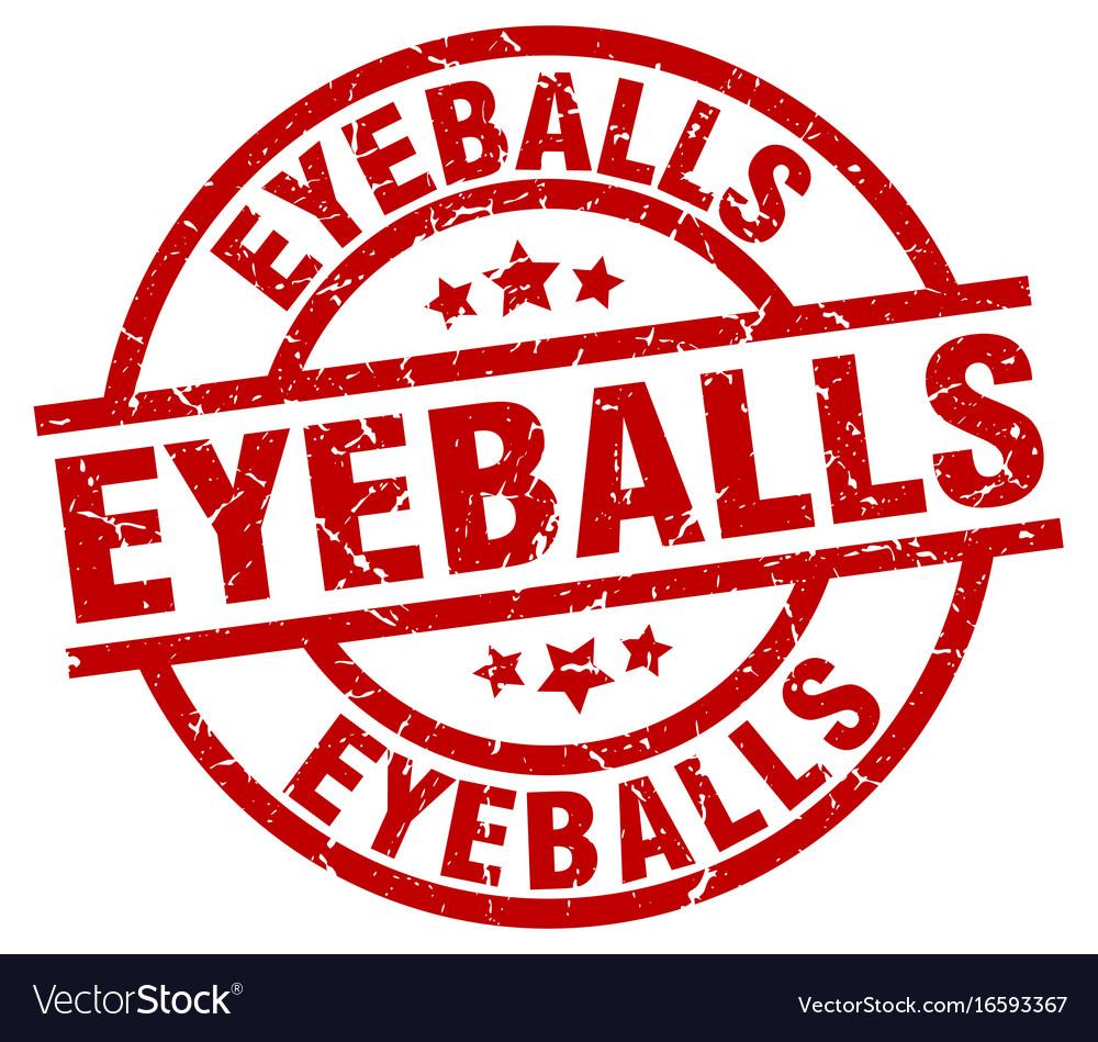 Eyeballs round red grunge stamp vector image
