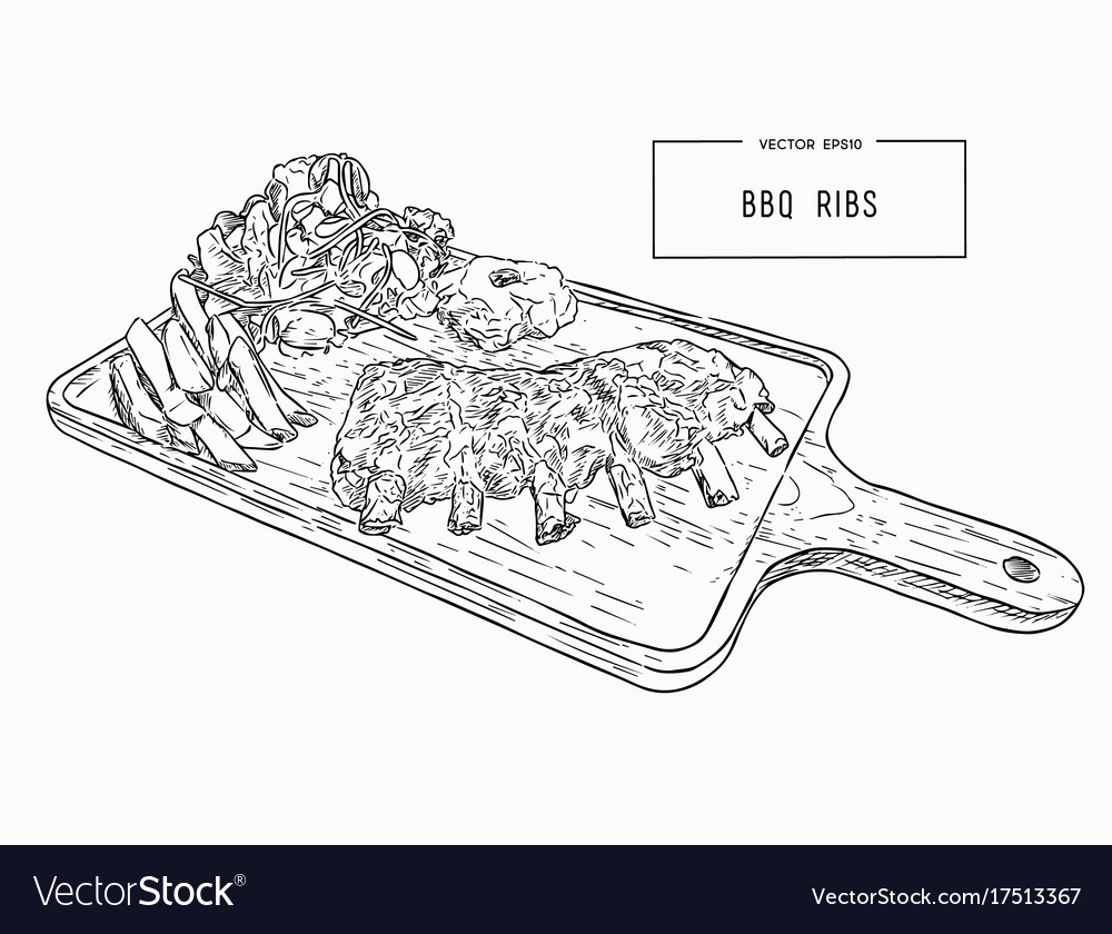 Grilled spare ribs vector image