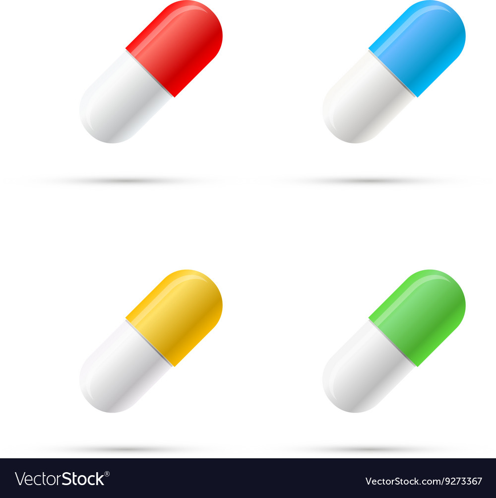 Set of different colours pills capsules on white vector image