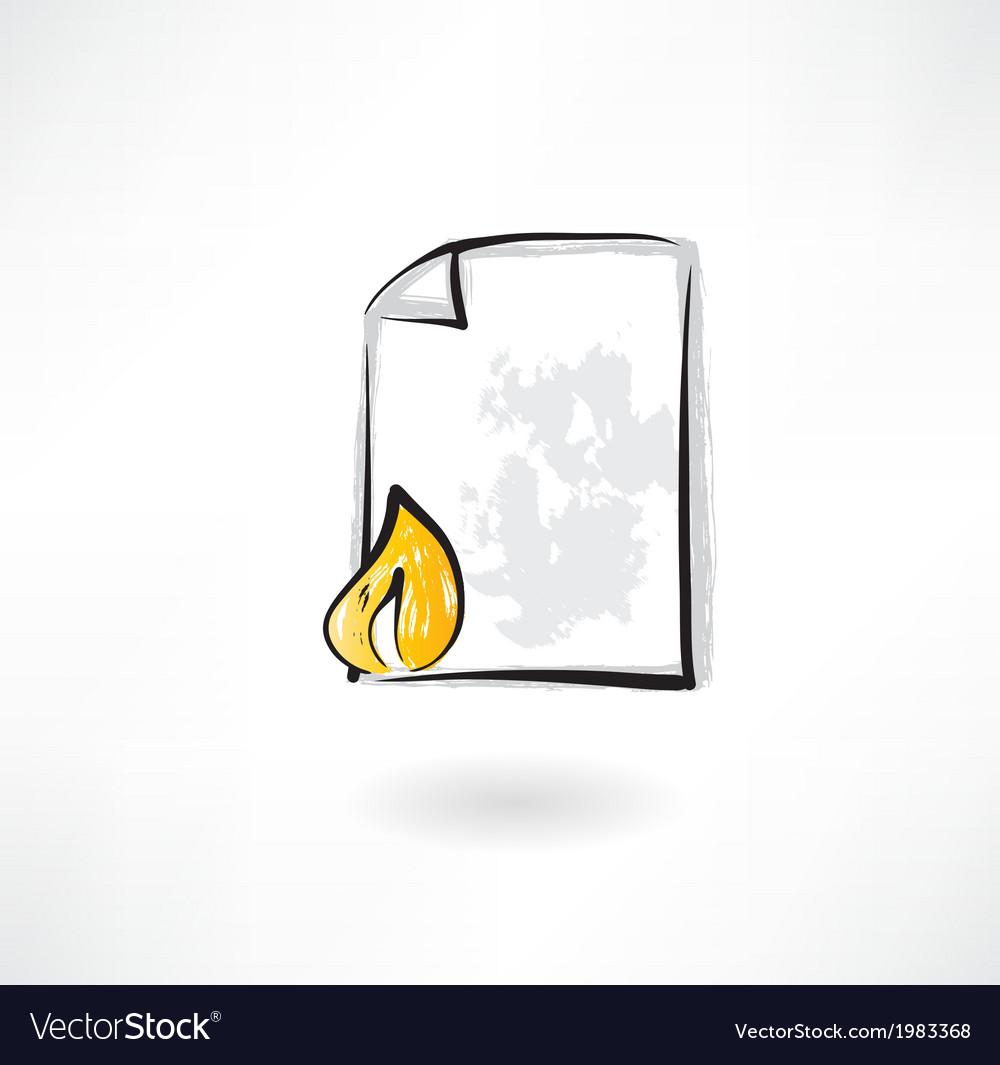 Burning document grunge icon vector image