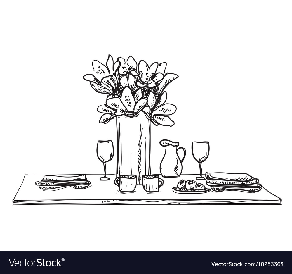 sc 1 st  VectorStock & Table setting set Weekend breakfast or dinner Vector Image