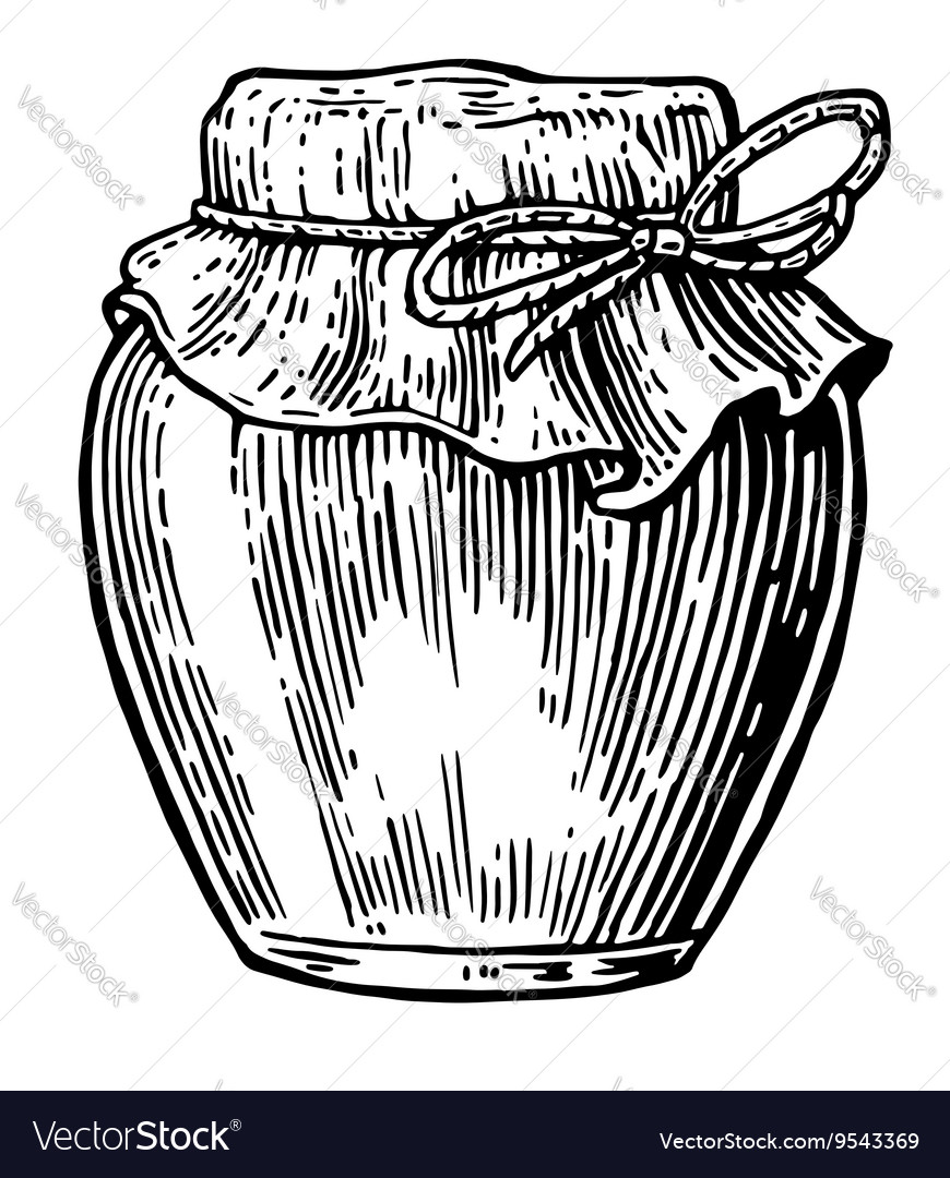 Jar vintage engraved vector image