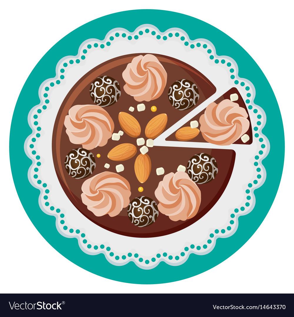 Birthday cake with cream flowers chocolate balls vector image