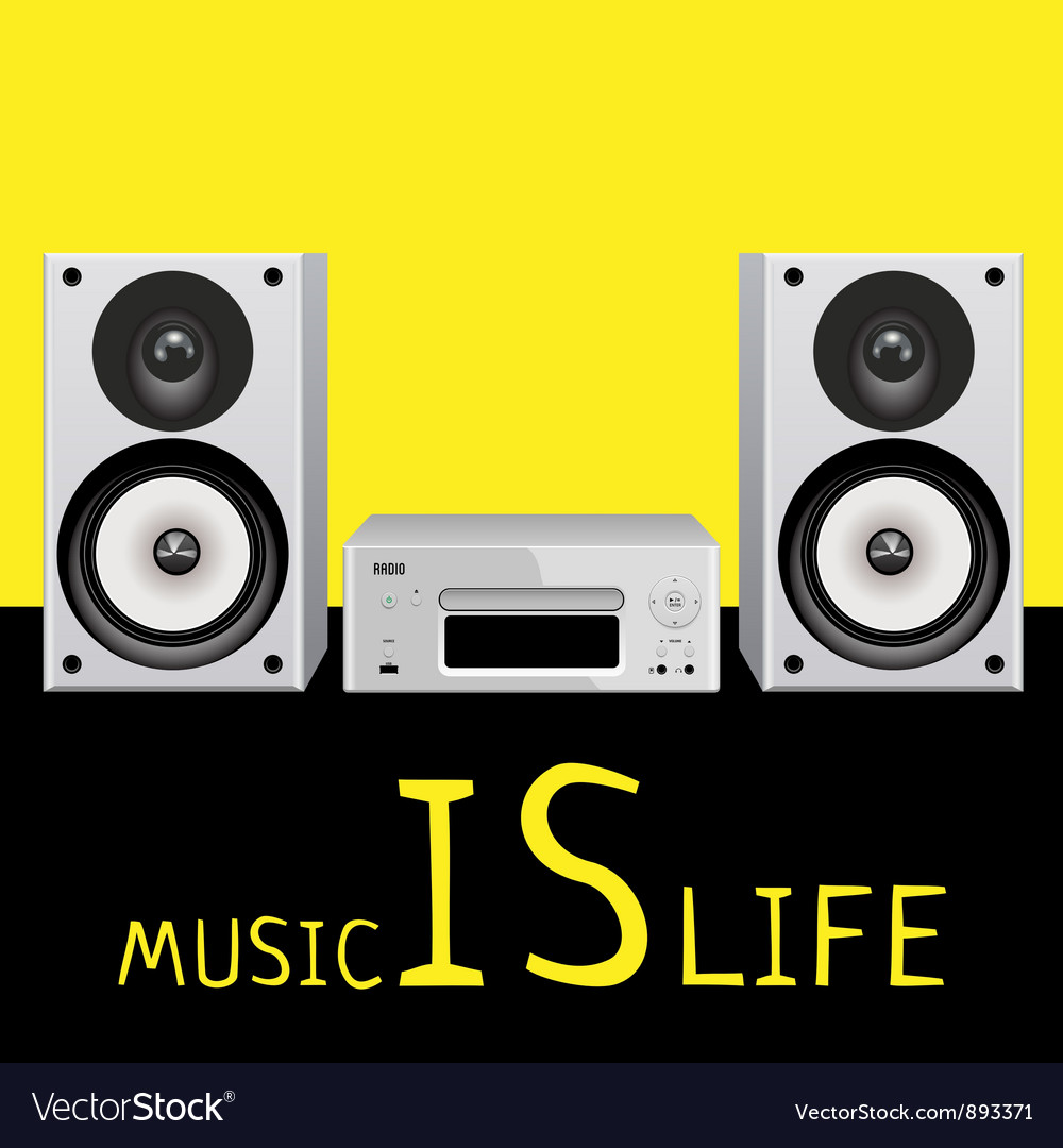 Audio system music center on white vector image