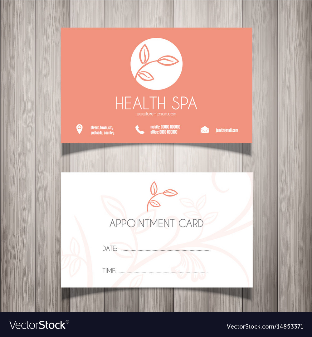 Health spa or beautician business card Royalty Free Vector
